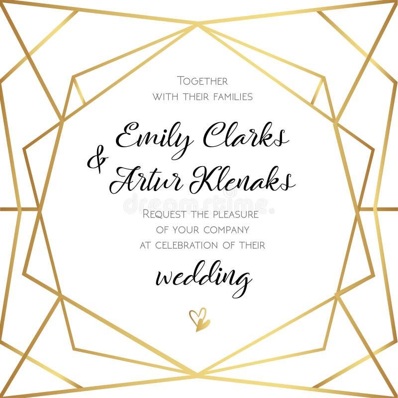 Wedding Invitation, invite card design with Geometrical art lin royalty free illustration