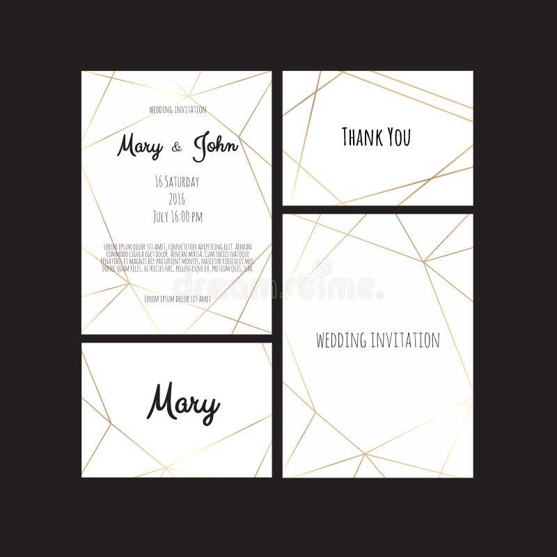 Wedding Invitation, invite card design with Geometrical art lines, gold foil border, frame. vector illustration