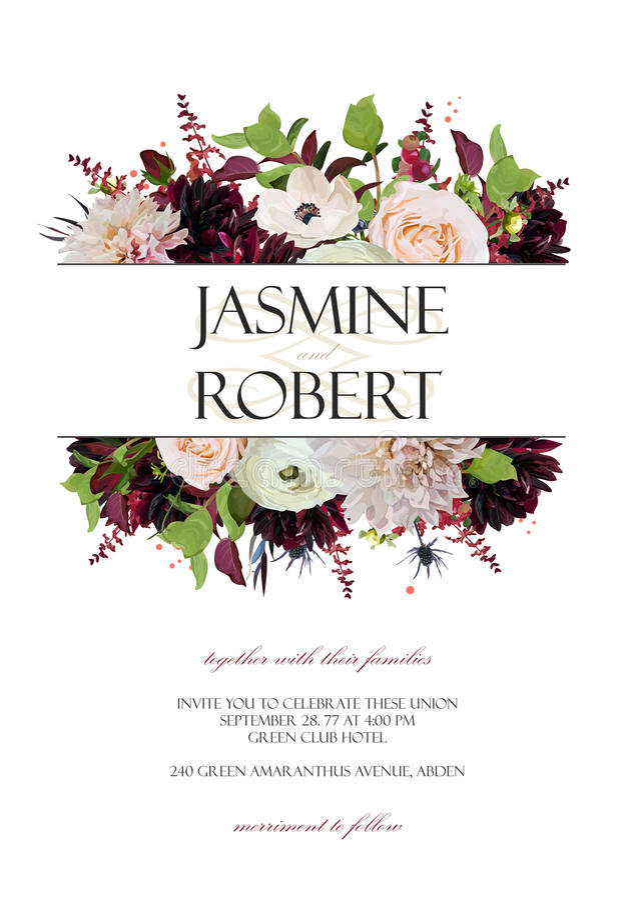 Wedding Invitation invite card Design: Rose Anemone Dahlia flower thistle herb plant leaf bouquet frame border crown. Vector. Anniversary floral garden of stock illustration