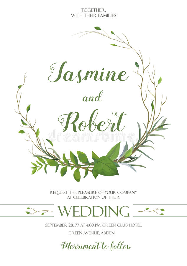 Wedding Invitation, invite card wreath Design with willow Eucalyptus tree, green leaf herb plant branches greenery mix frame compo royalty free stock image