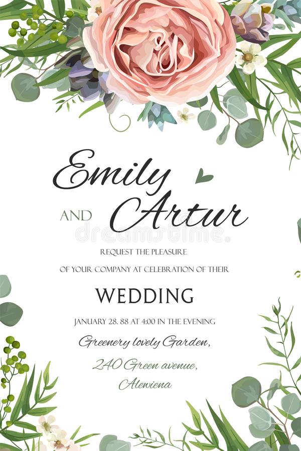 Wedding Invitation, invite save the date floral card vector Design: garden lavender pink peach Rose Succulent wax green palm. Leaves elegant greenery eucalyptus stock illustration