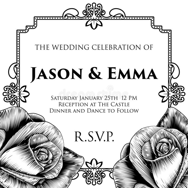 Wedding Invite Invitation Template. A wedding invitation invite save the day template featuring roses woodcut flowers in a vintage retro engraved etching style royalty free illustration