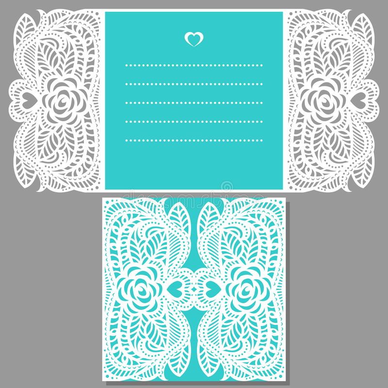 Wedding invitation pattern for laser cutting vector illustration