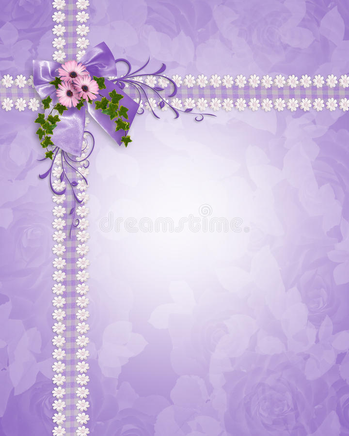 Wedding invitation lavender daisies royalty free stock photography