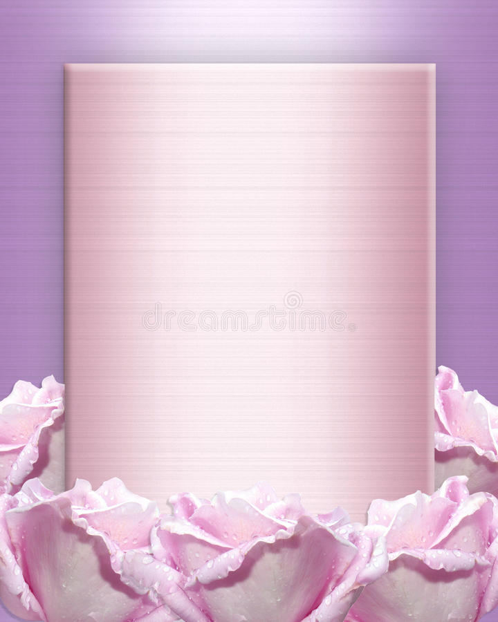 Wedding invitation Lavender roses stock image