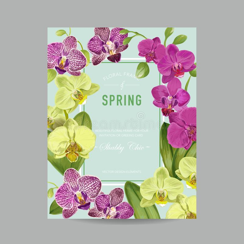 Wedding Invitation Layout Template With Orchid Flowers Save