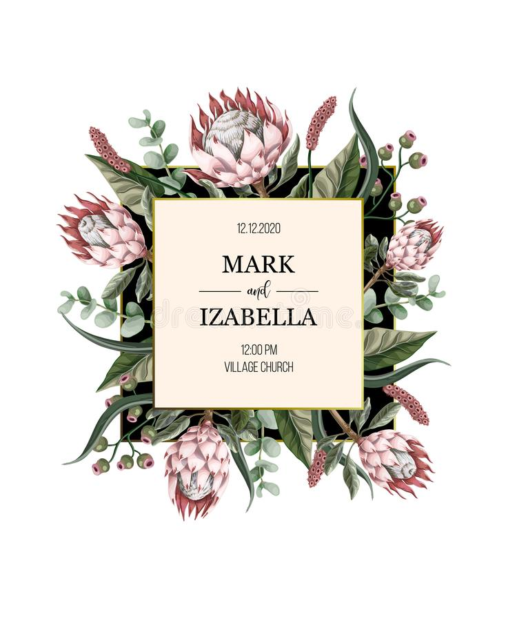 Wedding invitation with leaves, protea flowers, succulent and golden elements in watercolor style. Wedding invitation with leaves, protea flowers, succulent and royalty free illustration
