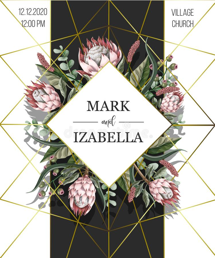 Wedding invitation with leaves, protea flowers, succulent and golden elements in watercolor style.  vector illustration