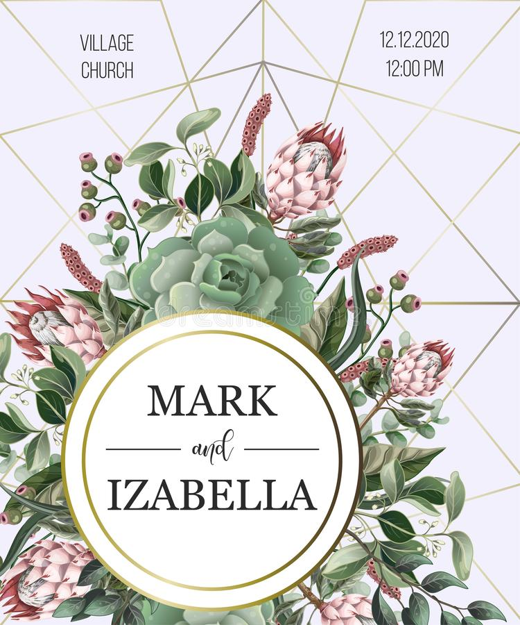 Wedding invitation with leaves, protea flowers, succulent and golden elements in watercolor style. Wedding invitation with leaves, protea flowers, succulent and vector illustration