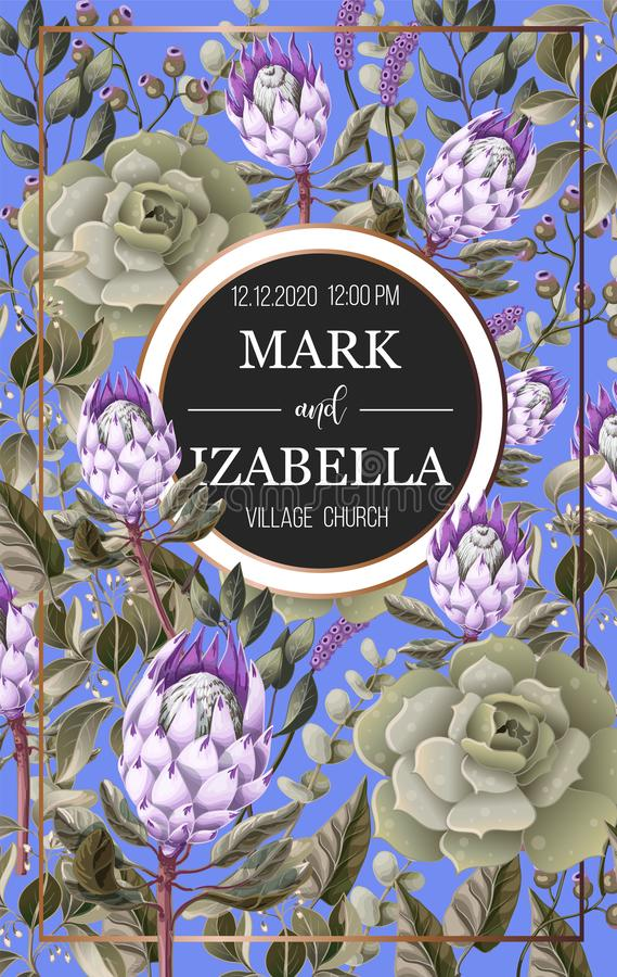 Wedding invitation with leaves, protea flowers, succulent and golden elements in watercolor style. Wedding invitation with leaves, protea flowers, succulent and stock illustration