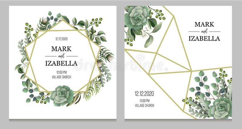 Wedding invitation with leaves, succulent and golden elements in watercolor style. Eucalyptus, magnolia, fern and other stock illustration