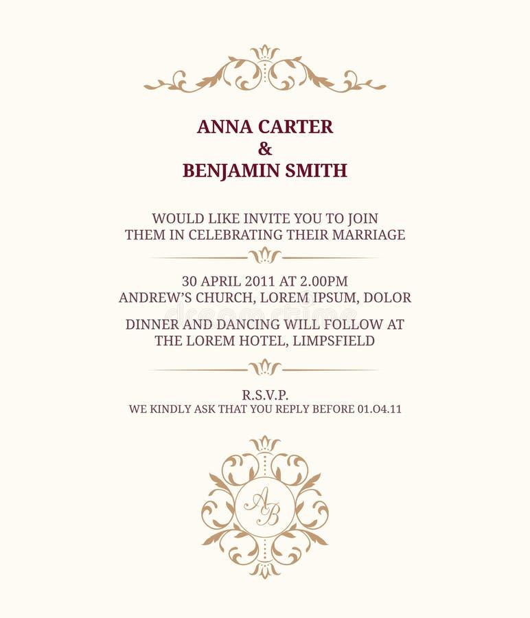 Wedding invitation with monogram royalty free illustration