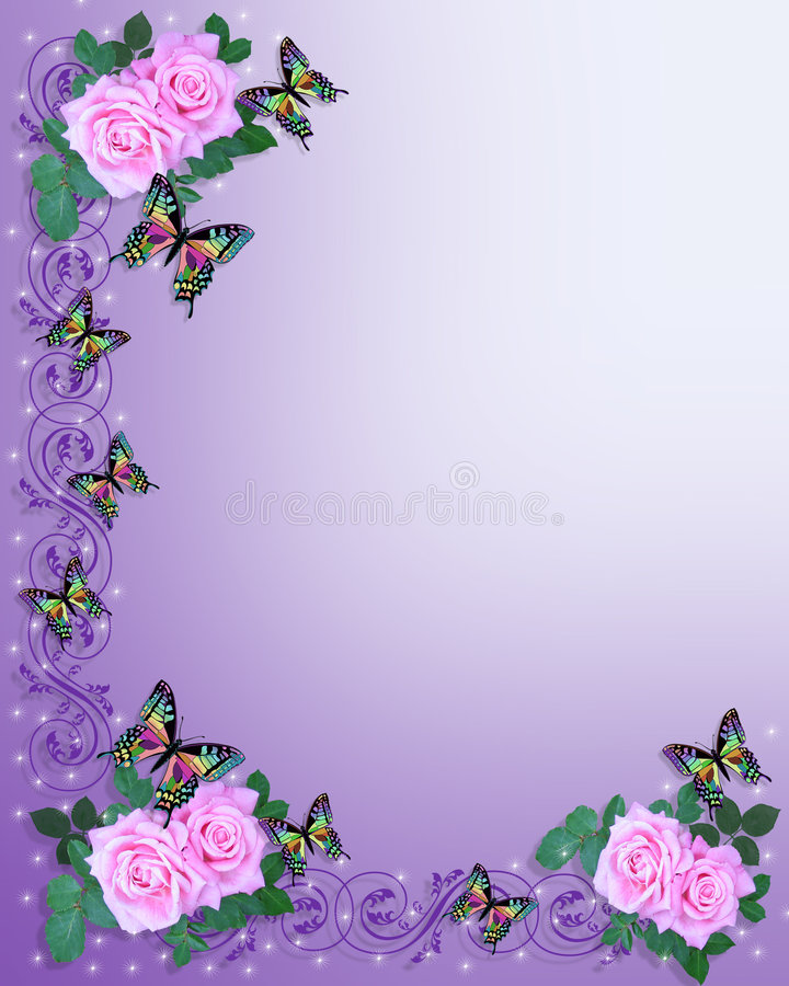 Wedding Invitation Pink Roses Butterflies Stock Photography
