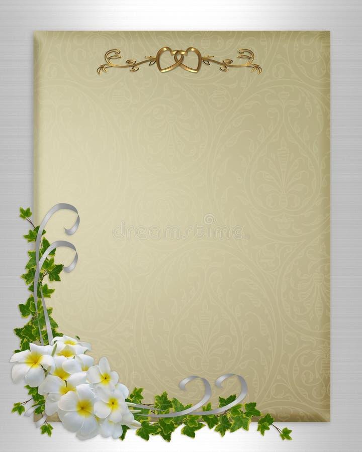 Wedding invitation plumeria and ivy royalty free stock photos