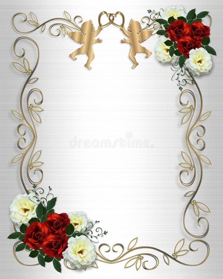Wedding invitation Red Roses Border on satin stock illustration