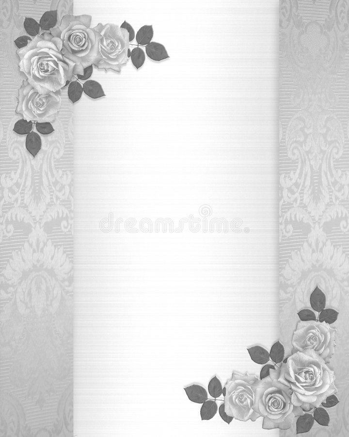 Wedding invitation roses floral border stock illustration