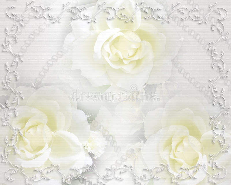 Wedding invitation roses and pearls royalty free stock photos
