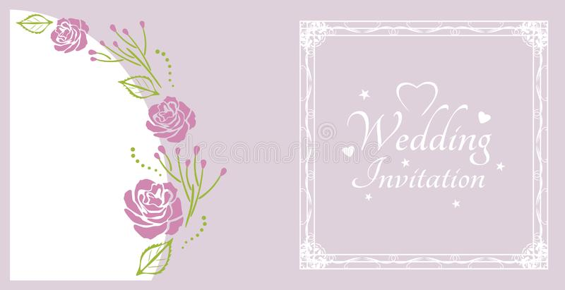 Wedding invitation. Sample for postcard with purple roses royalty free stock photo
