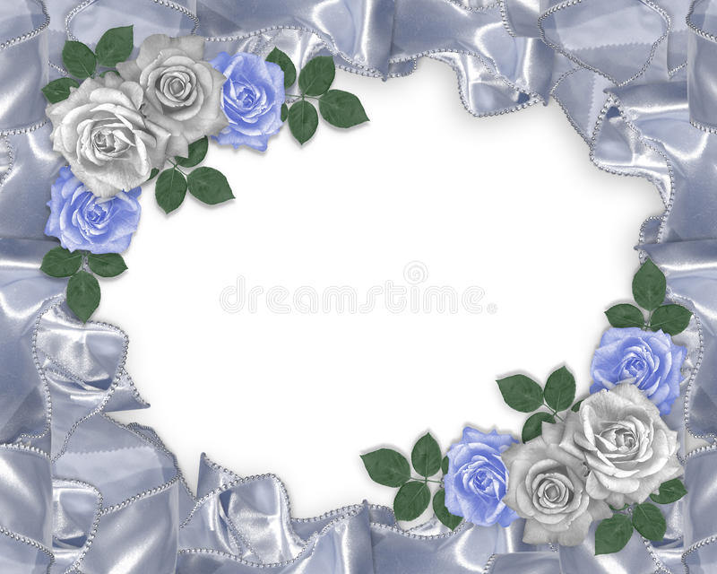 Wedding invitation satin and roses. Image and illustration composition of blue and white victorian roses on a satin ribbon border for wedding invitation royalty free illustration