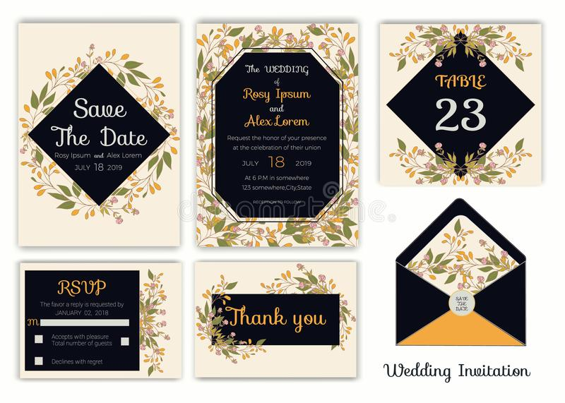 Wedding invitation , Save the date, RSVP card, Thank you card, T vector illustration