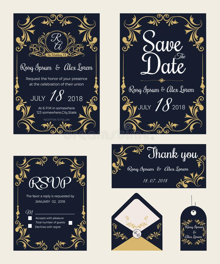 Vector set of invitation cards with elements Wedding collection vector illustration
