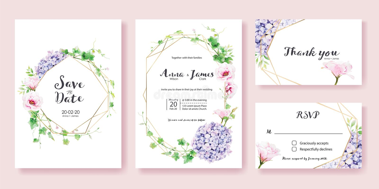 Wedding Invitation, save the date, thank you, rsvp card Design template.Greenery Ivy, Pink Lisianthus, Hydrangea flower. stock illustration