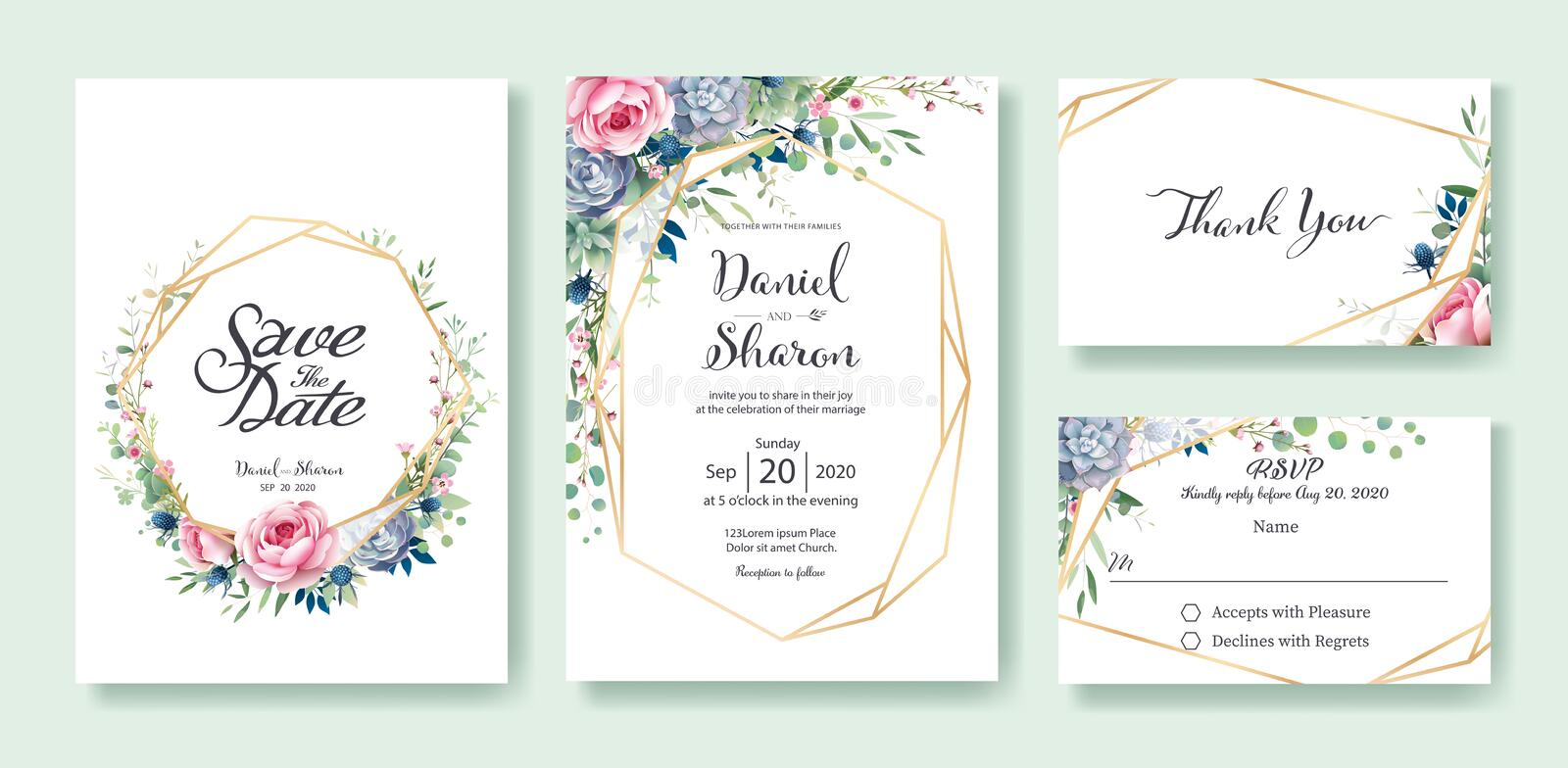 Wedding Invitation, save the date, thank you, RSVP card Design template. Queen of Sweden rose flower, leaves, succulent plant, Ane. Mone plants. vector stock illustration
