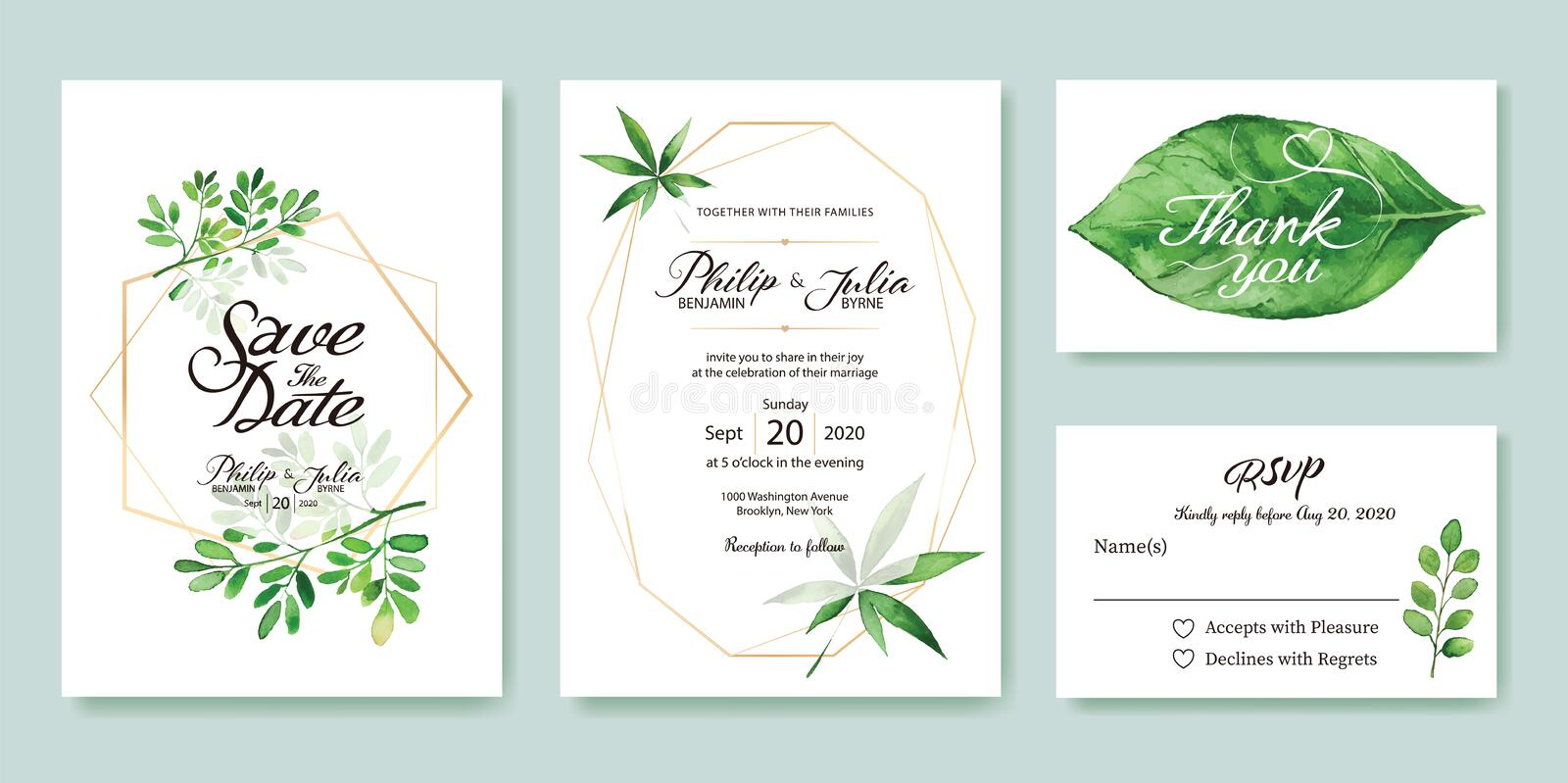 Wedding Invitation, save the date, thank you, rsvp card Design template. Silver dollar, olive leaves. leaf. Vector. royalty free illustration
