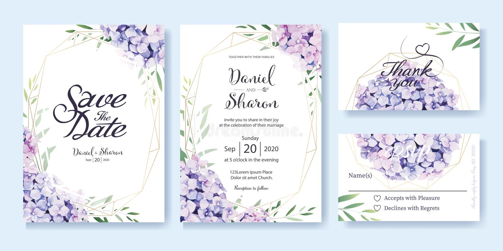 Wedding Invitation, save the date, thank you, RSVP card Design template. Vector. hydrangea flowers, olive leaves. Watercolor style.  royalty free illustration