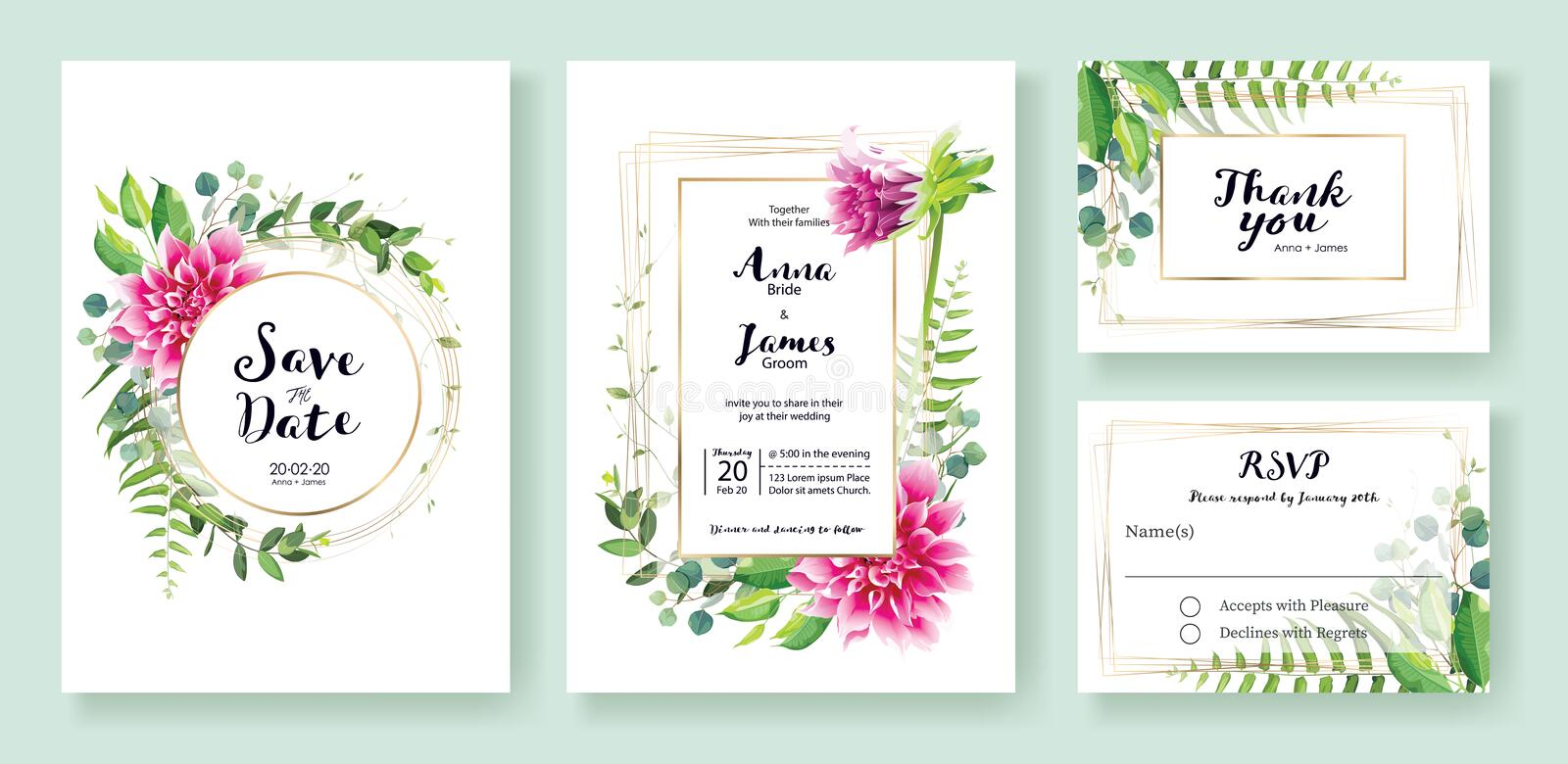 Wedding Invitation, save the date, thank you, rsvp card Design template. Vector. Pink dahlia flowers, fern leaf, silver dollar lea. Ves, Ivy plants royalty free illustration