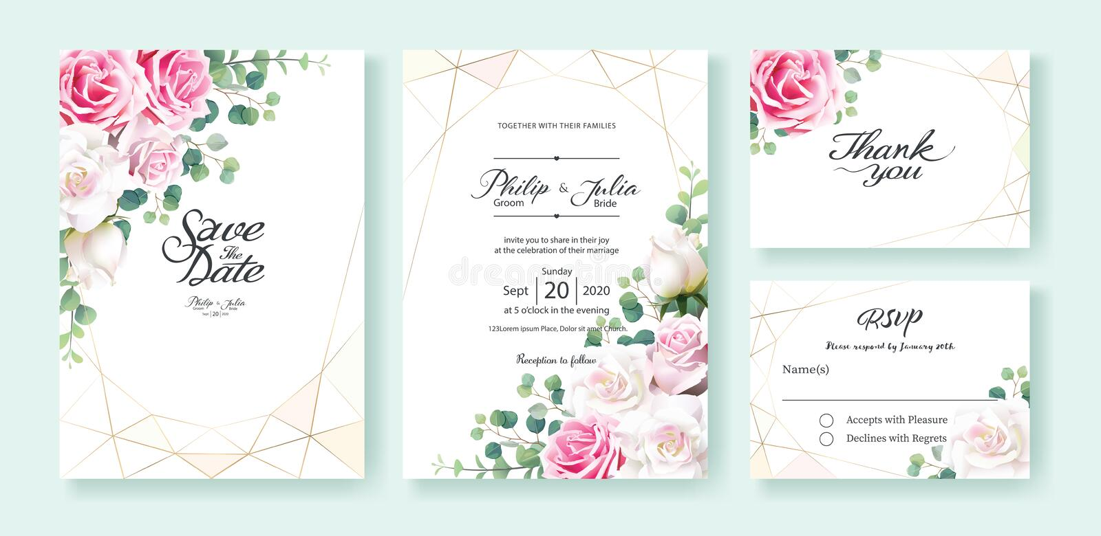 Pink and white rose flowers Wedding Invitation, save the date, thank you, rsvp card Design template. Vector. Silver dollar vector illustration