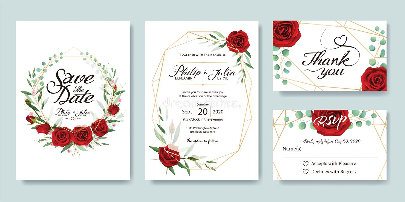 Wedding Invitation, save the date, thank you, RSVP card Design template. Vector. Summer flower, red rose, silver dollar, olive lea. Ves, Wax flower royalty free illustration