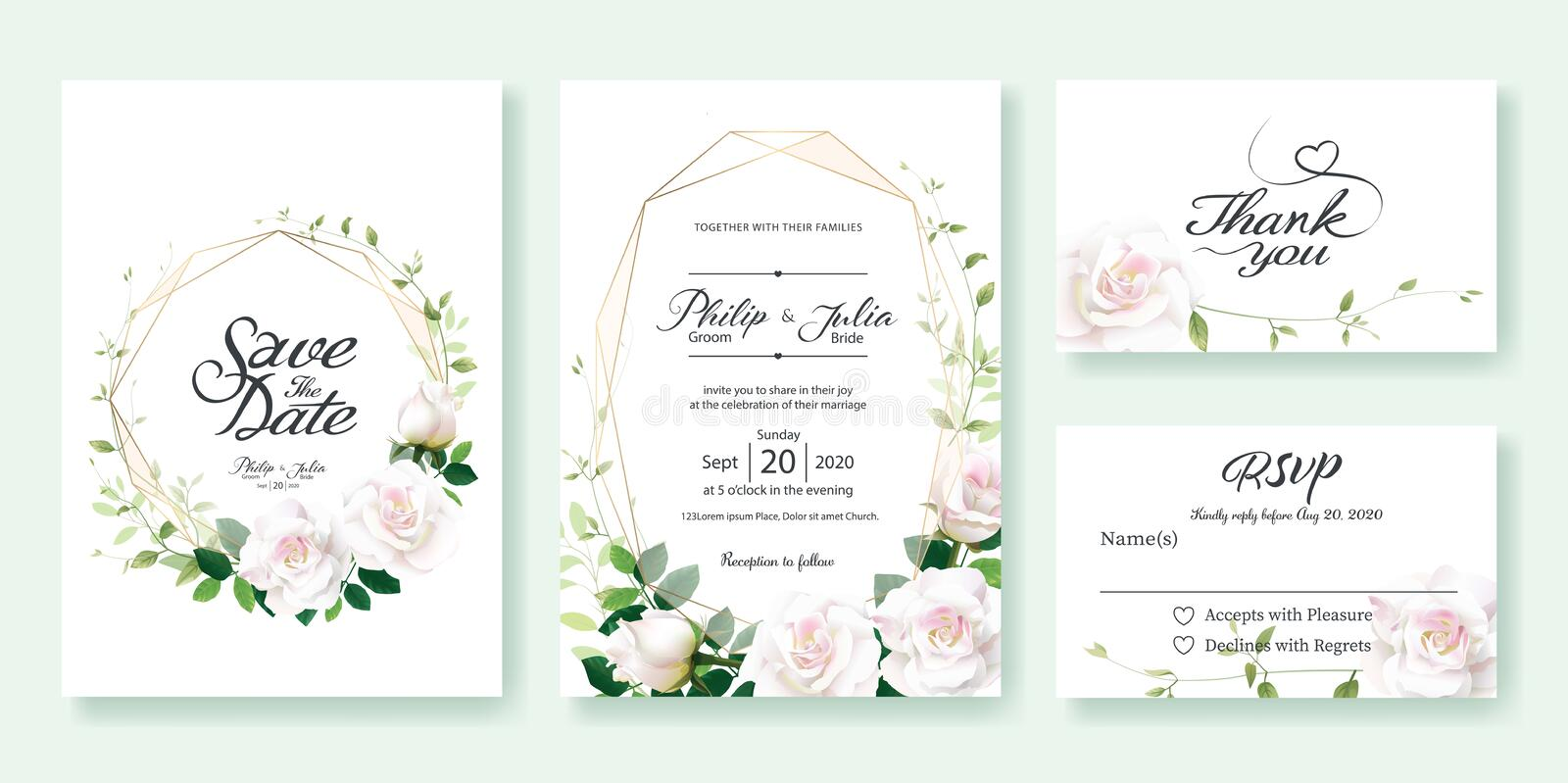 Wedding Invitation, save the date, thank you, rsvp card Design template. Vector. White rose flower, lemon leaf, Ivy leaves. royalty free illustration