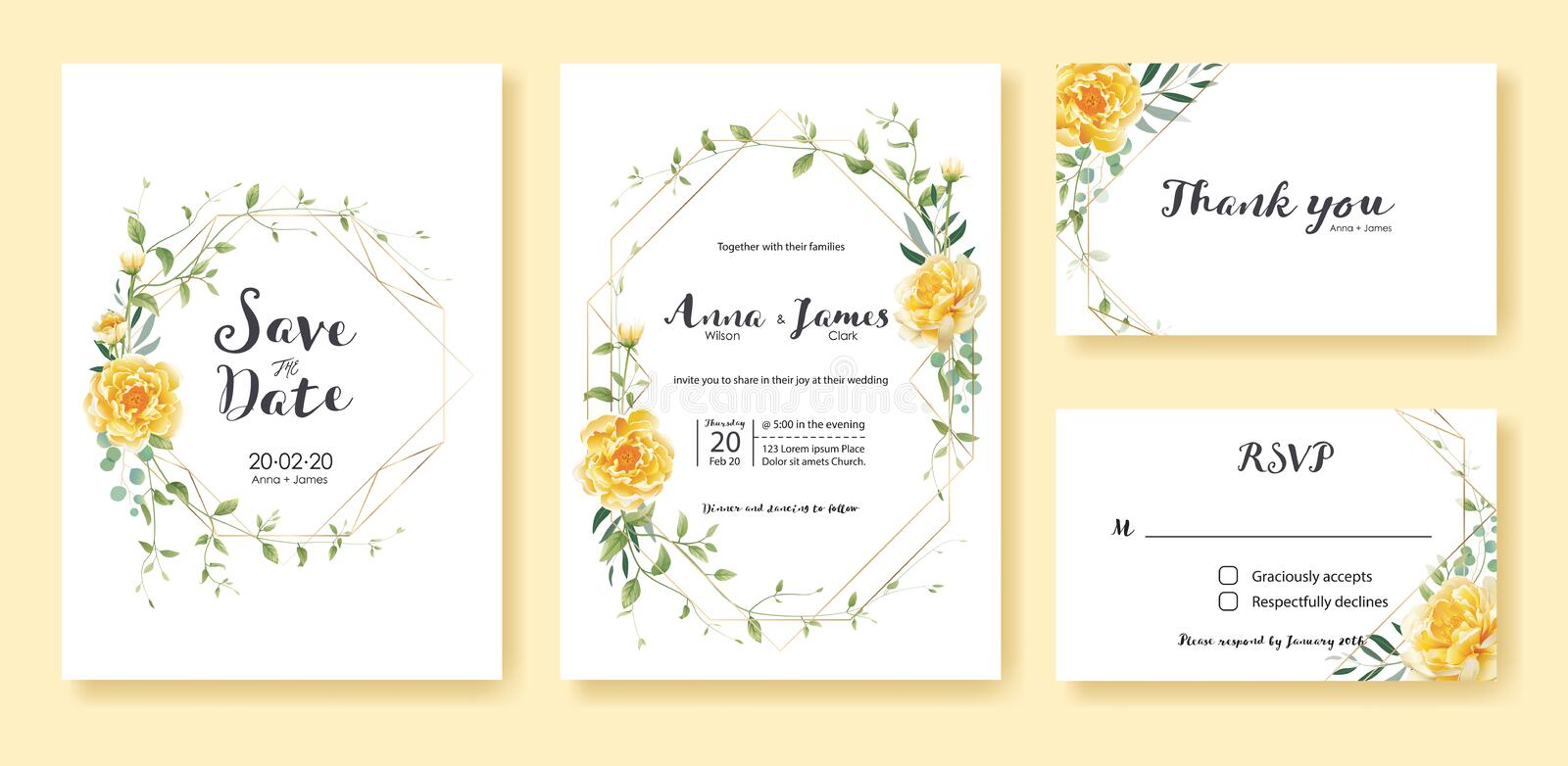 Wedding Invitation, save the date, thank you, rsvp card Design template. Vector. Yellow flower, silver dollar, olive leaves, Ivy p stock illustration