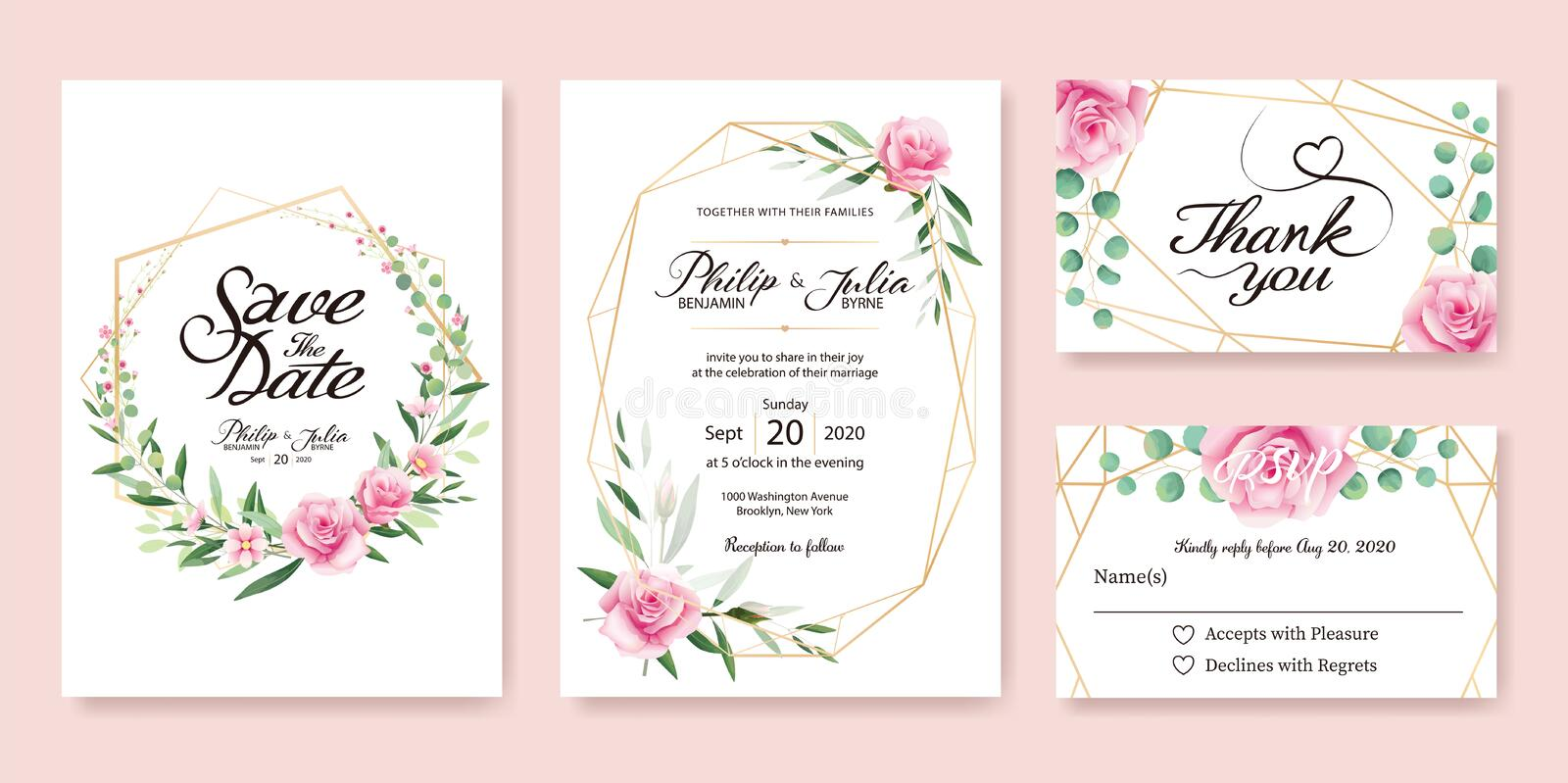 Wedding Invitation, save the date, thank you, rsvp card Design. vector illustration