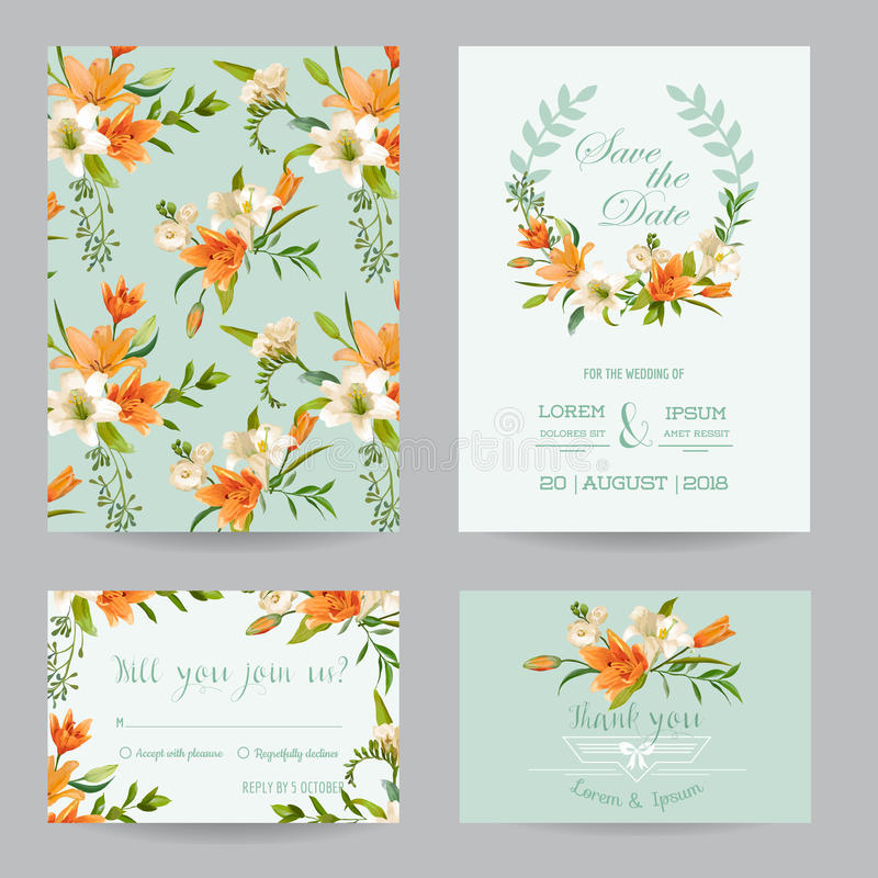 Wedding Invitation Set - Autumn Lily Floral vector illustration