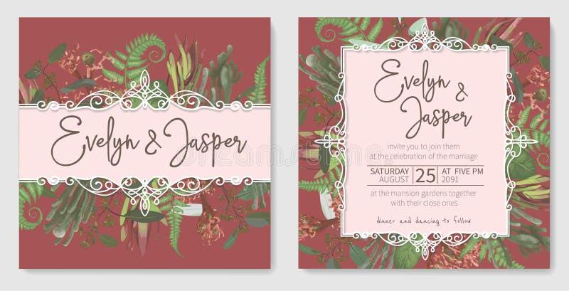 Wedding invitation set, beautiful greeting card, vector watercolor banner. Brunia, fern, eucalyptus, leucadendron, gaultheria,. Salal, jatropha on background vector illustration