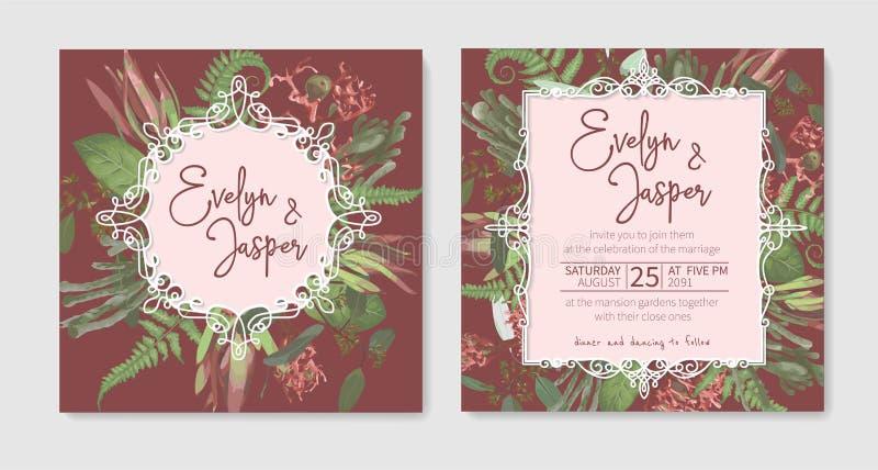 Wedding invitation set, beautiful greeting card, vector watercolor banner. Brunia, fern, eucalyptus, leucadendron, gaultheria,. Salal, jatropha on background stock illustration
