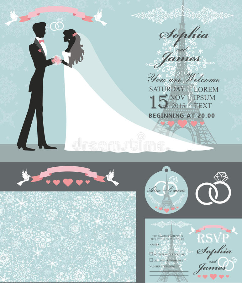 Wedding invitation set.Bride,groom,Paris Winter stock illustration