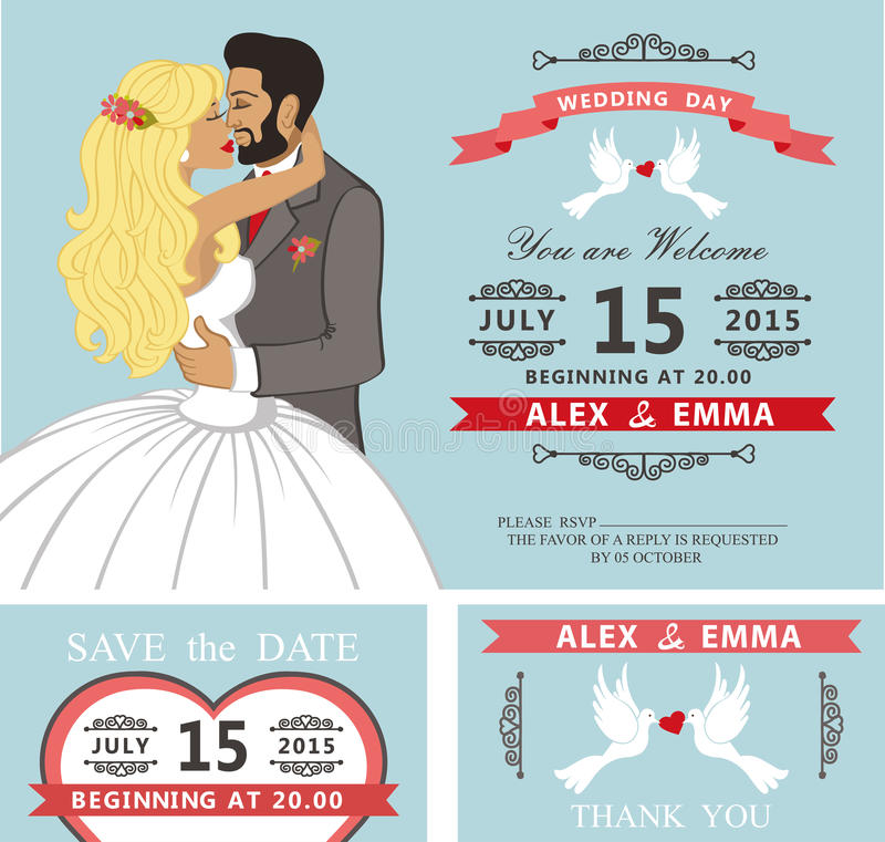 Wedding invitation set.Kissing Cartoon bride and. Wedding invitation with Cartoon kissing couple bride and groom.Swirling borders vignettes, ribbon, pigeons royalty free illustration
