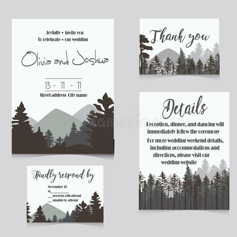 Wedding invitation set with mountains invitation card vector illustration