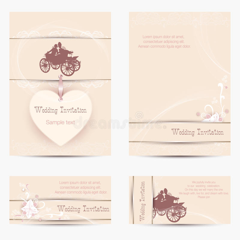 Wedding invitation with silhouettes. Set of Wedding Invitations on a beige background with silhouettes of lovers in chariot vector illustration