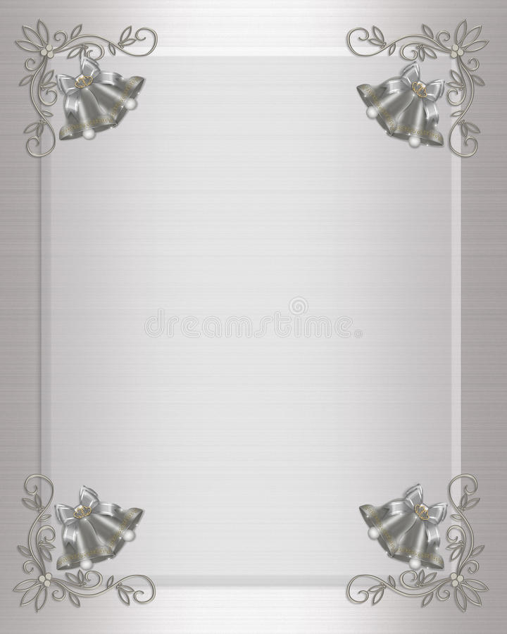 Wedding invitation silver bells stock illustration