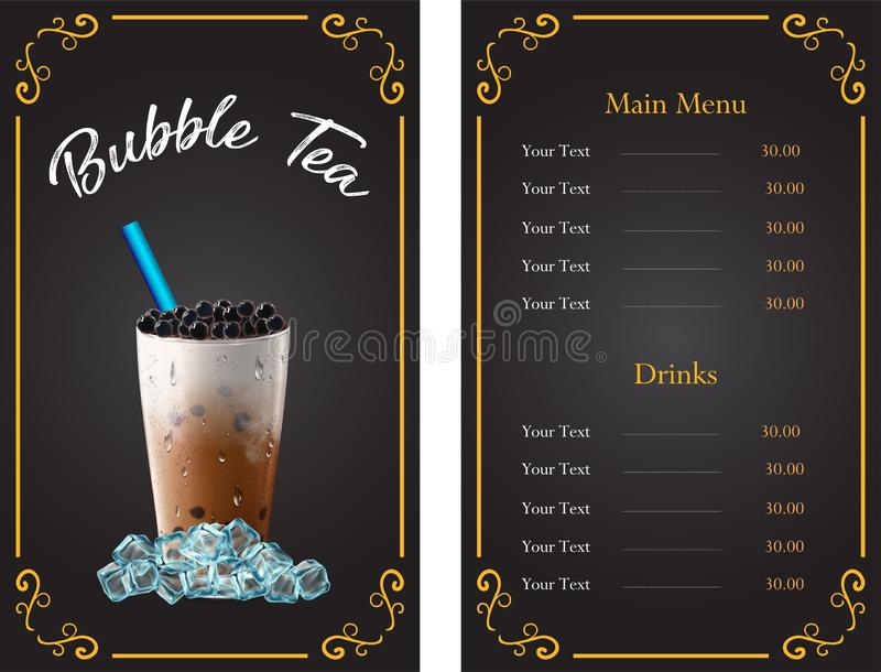 Bubble milk tea ads with delicious tapioca and pearl pouring into . 3d illustration. vector illustration