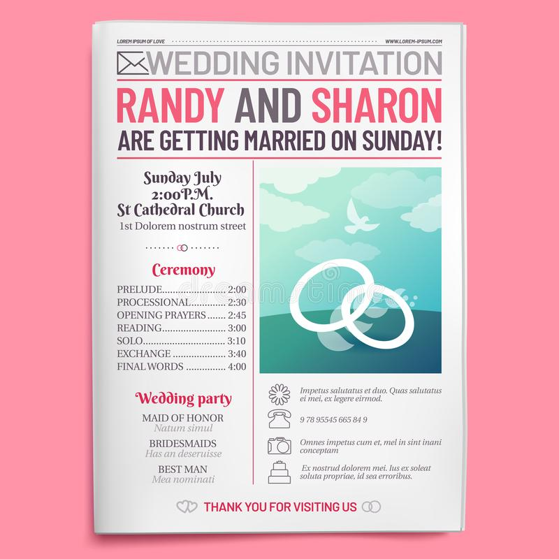 Wedding invitation tabloid. Newspaper front page, getting married brochure and old love journal layout vector royalty free illustration