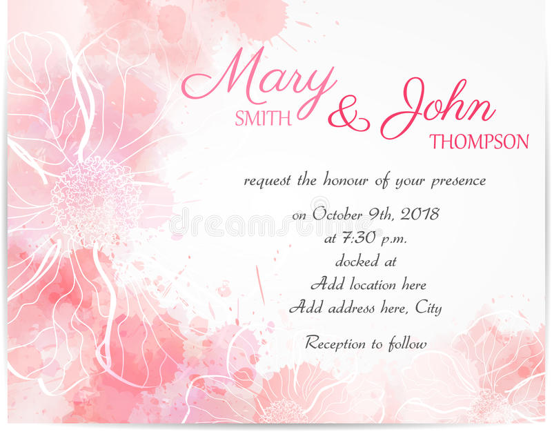 Wedding invitation template with abstract florals royalty free illustration