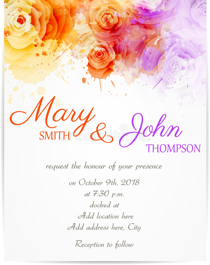 Wedding invitation template with abstract roses royalty free illustration