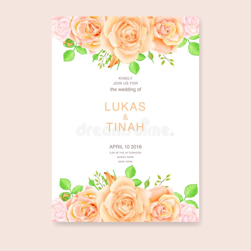 Wedding invitation template with beautiful roses flowers. Watercolor colorful illustration royalty free illustration