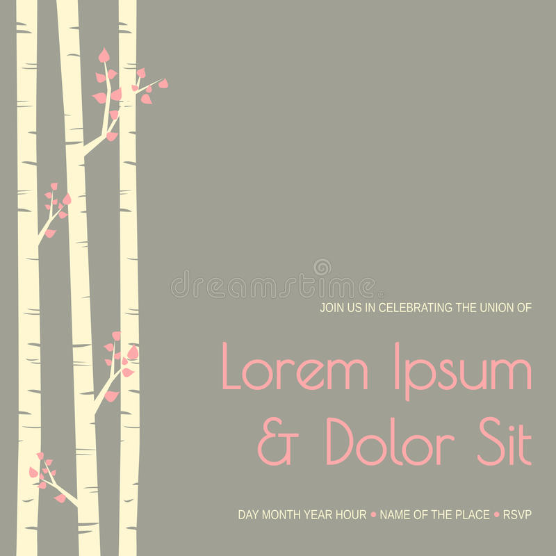 Wedding Invitation Template. Elegant wedding invitation template with birch trees vector illustration