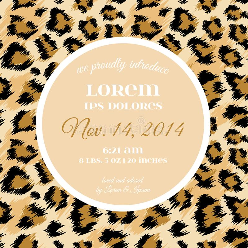 Wedding Invitation Template with Fashionable Leopard Pattern. Tropical Save the Date Card. Animal Ornament Design vector illustration